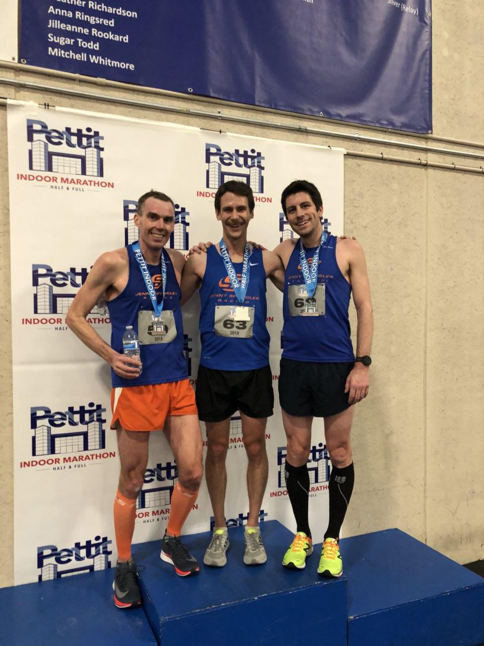 JSR Sweeps Podium at Pettit Indoor Half Marathon!